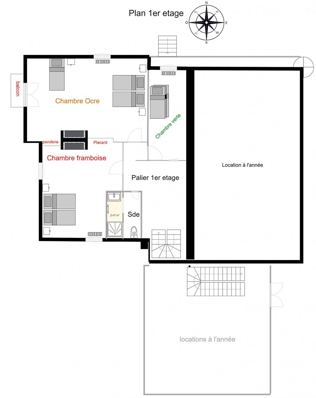 Plan du 1er étage de Branville