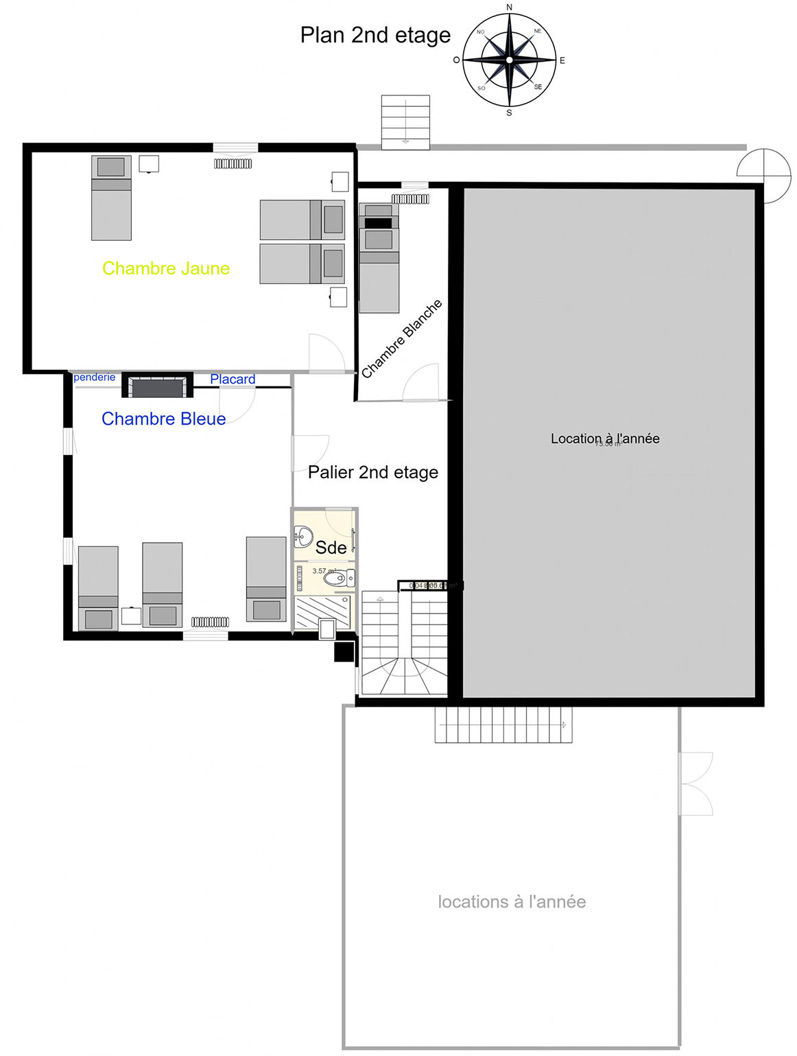 Plan du 2nd étage de branville