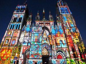 Spectacle son et lumière cathédrale de Rouen de Monet aux pixels